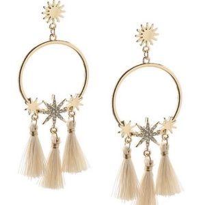 Crystal Sun Star Tassel Earrings